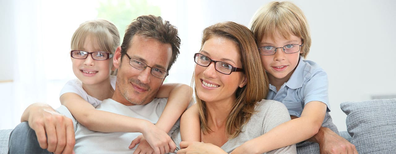 Happy Family in Glasses